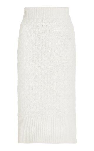 Pointelle-Knit Alpaca-Blend Pencil Skirt