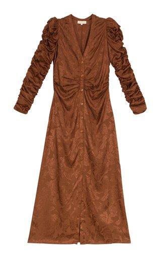 Jacquard Button-Down Midi Dress