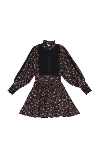 Cotton Slub Floral Mini Dress