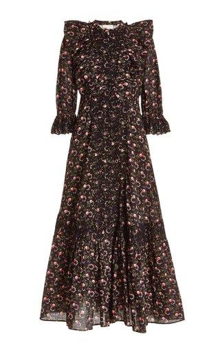 Cotton Slub Floral Midi Dress