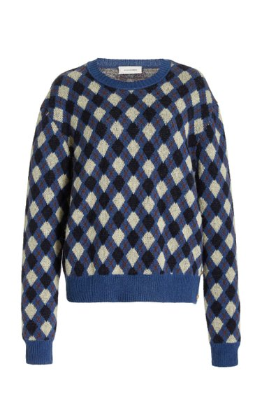 Williams Button-Detailed Argyle-Knit Sweater
