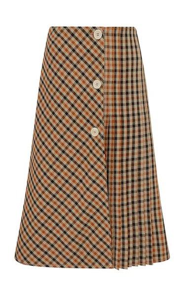 Kalimba Pleated Checked Wool-Blend Midi Skirt