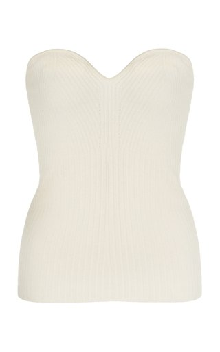 Cedros Ribbed Wool-Cashmere Bustier Top
