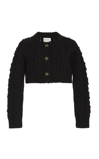 Abaco Cable-Knit Wool-Cashmere Cropped Cardigan