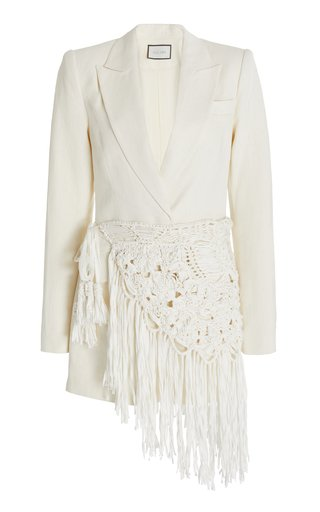 Amrit Belted Hemp Canvas Mini Blazer Dress