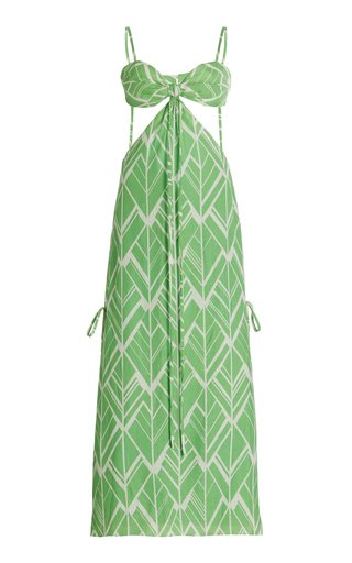 Daya Cutout Printed Linen Maxi Dress