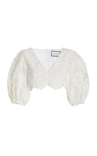 Davida Broderie Anglaise Cropped Top