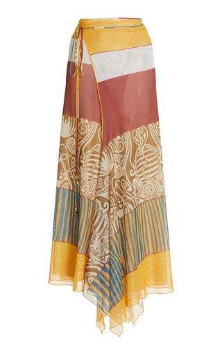 Remina Printed Jersey Midi Wrap Skirt