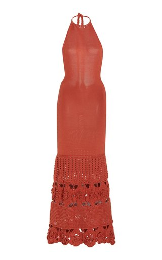 Carina Crochet-Knit Bamboo Maxi Halter Dress