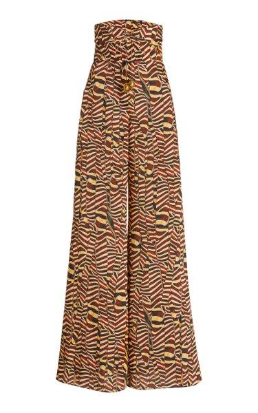 Cyprus Printed Twill Wide-Leg Pants