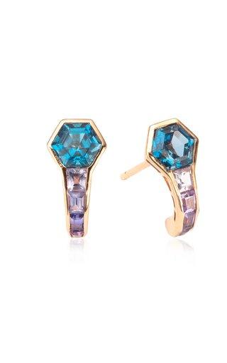 Pod 14K Rose Gold Topaz, Sapphire Earrings