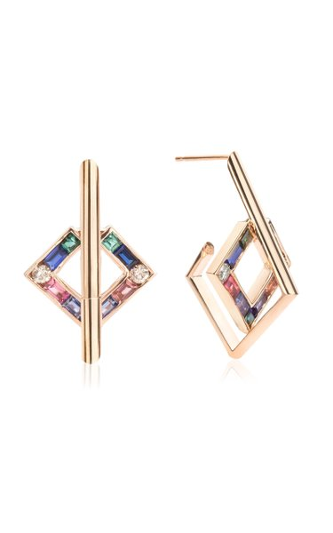 Open Square 14K Rose Gold Multi-Stone Earrings