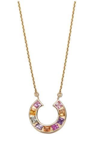 Sundial 14K Yellow Gold Sapphire Necklace
