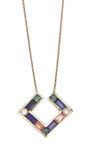 Open Square 14K Rose Gold Multi-Stone Necklace