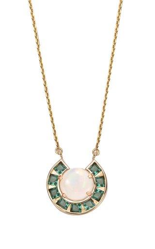 Moon 14K Yellow Gold Tourmaline, Opal Necklace