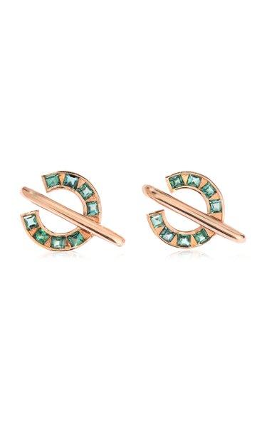 Sundial 14K Rose Gold Tourmaline Earrings