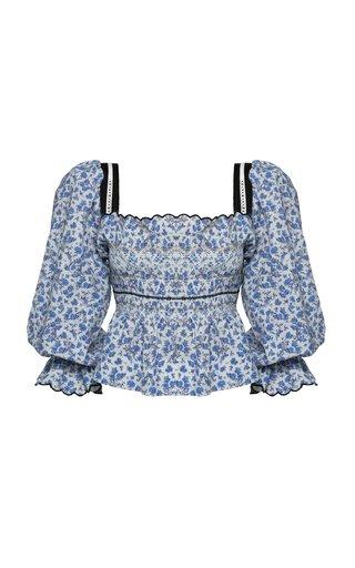 Elisa Floral Cotton-Blend Top