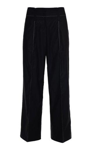 Karia Stitched Cotton Straight-Leg Pants