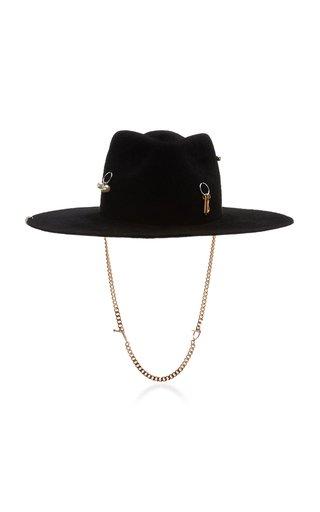 Chain-Embellished Felt Fedora Hat