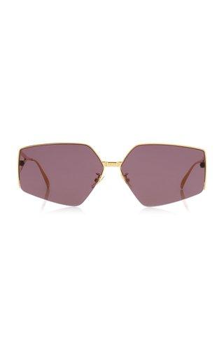 Oversized Angular Gold-Tone Metal Sunglasses