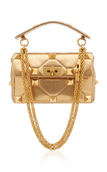 Valentino Garavani Medium Roman Stud Metallic Leather Bag