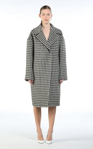 Printed Wool-Blend Trench Coat