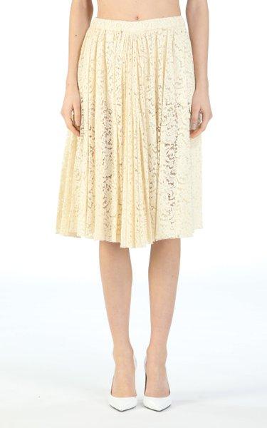 Guipure Lace Cotton-Blend Skirt
