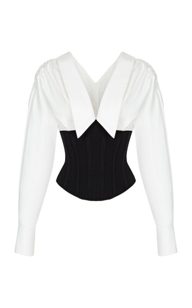 Cotton Jersey-Detailed Corset Shirt