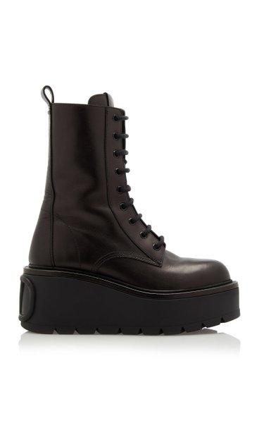 Valentino Garavani Platform Leather Combat Boots