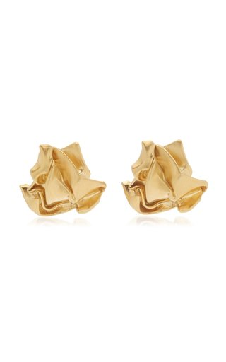 Crunched 14K Gold Vermeil Earrings