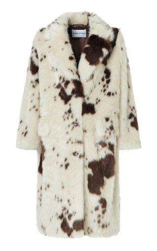 Theresa Cow Printed Faux Fur Coat