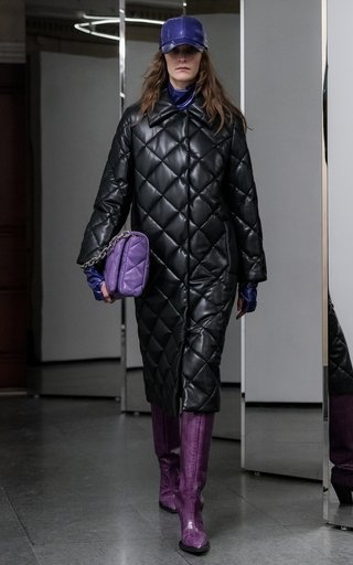 Dorothea Faux Leather Diamond Quilted Coat