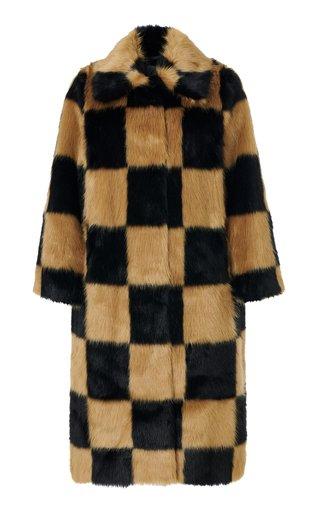 Nino Checkered Faux Fur Trench Coat