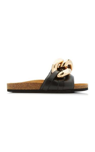 Chain-Embellished Leather Slides