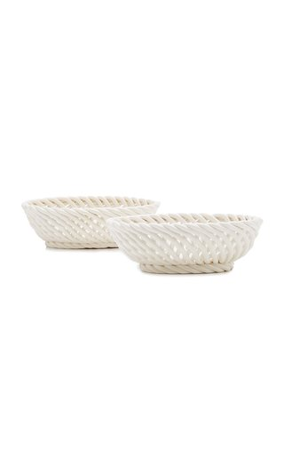 Set-Of-Two Ceramic Oval Bowls