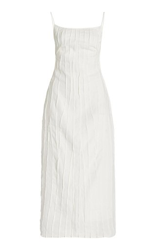 Smocked Linen Slip Dress