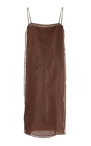 Side-Slit Silk Organza Midi Dress