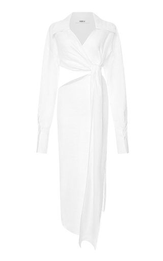Cutout Linen Shirt Dress