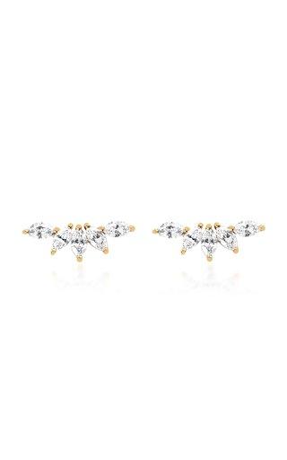 14k Gold Marquise Diamond Fan Earrings