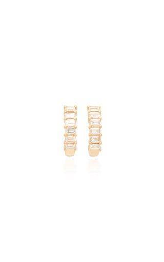 14k Gold Diamond Baguette Huggie Earrings