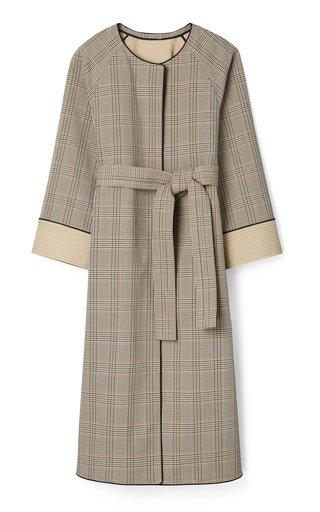 Trapunto Plaid Cotton Coat