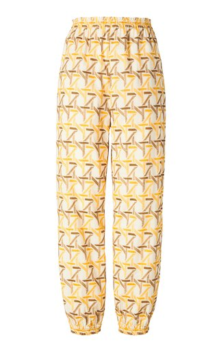 Embroidered Cinched Cotton Ankle Pant