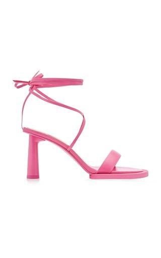 Les Carre Rond Asymmetric Lace-Up Leather Sandals