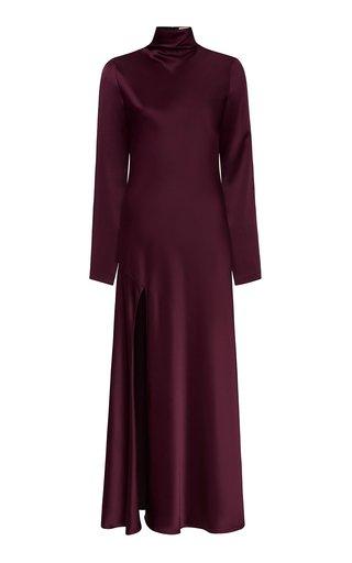 High-Neck Satin Maxi Dress