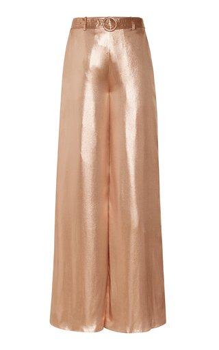 Metallic Silk Wide-Leg Pants
