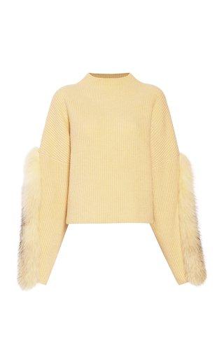 Oversized Fur-Trimmed Cashmere-Silk Sweater