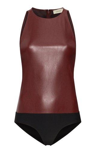 Stretch Faux-Leather Bodysuit