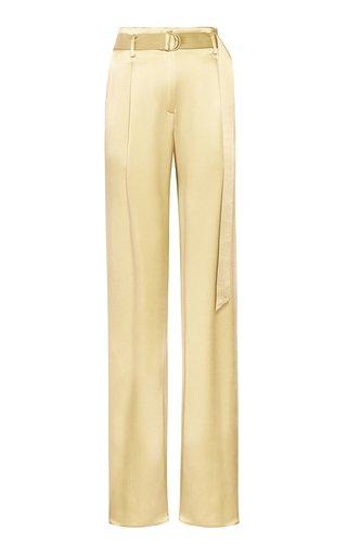 Belted Satin Straight-Leg Pants
