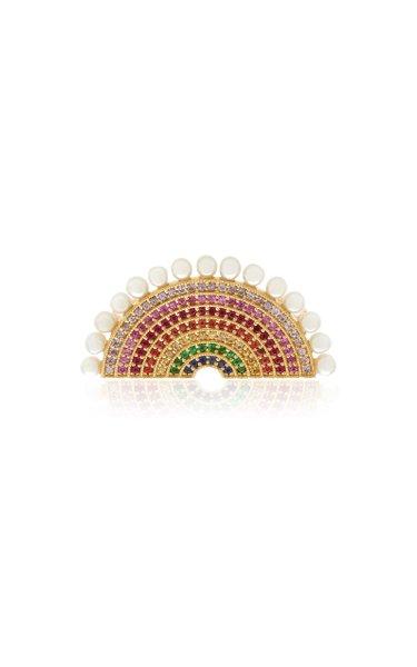 Rainbow 18k Gold Pearl Diamond and Multi-Gemstone Ring