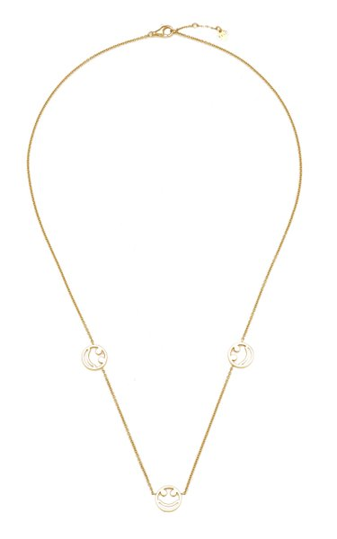 3x Smile 18k Gold Charm Necklace